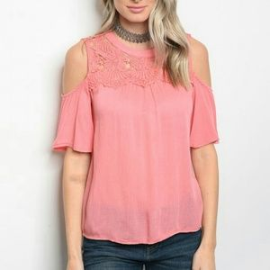 🆑HOST PICK🆑CORAL COLD SHOULDER BLOUSE